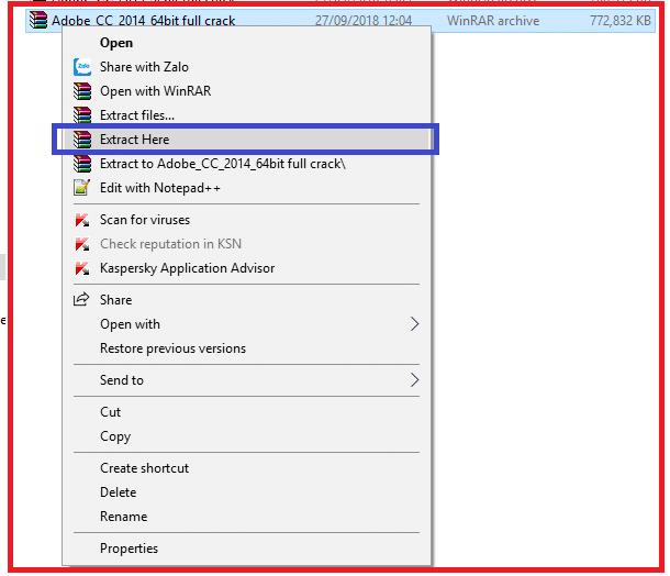 Tiến hành giải nén file Adobe CC 2014