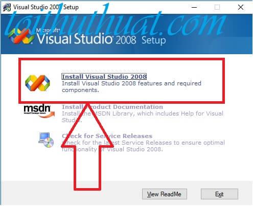 Chọn install visual studio 2008 để tiến hành cài đặt