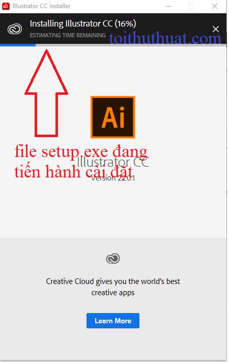 Click double vào file setup.exe để phần mềm Adobe Illustrator CC 2018 được cài đặt