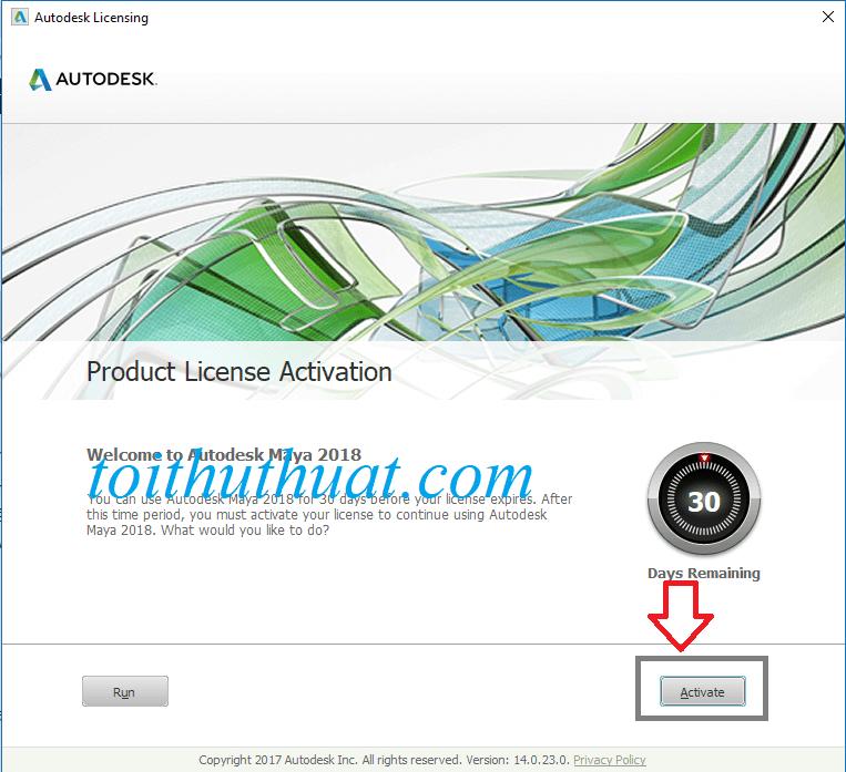 Chọn vào Activate dể bắt đầu vào quá trình crack phần mềm Autodesk maya 2018