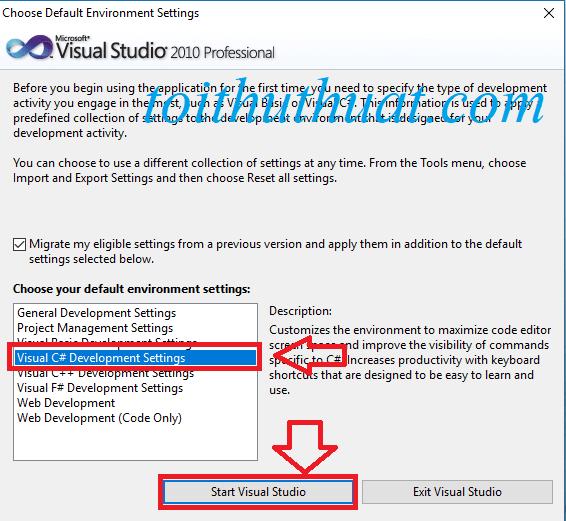 Chọn ngôn ngữ và chọn vào start visual studio và chờ vs cài đặt.
