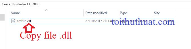 Vào thư mục crack IIIustrator CC 2018, sau đó copy file .dll