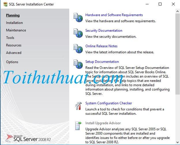 Giao diện cài đặt phần mềm SQL server 2008 R2