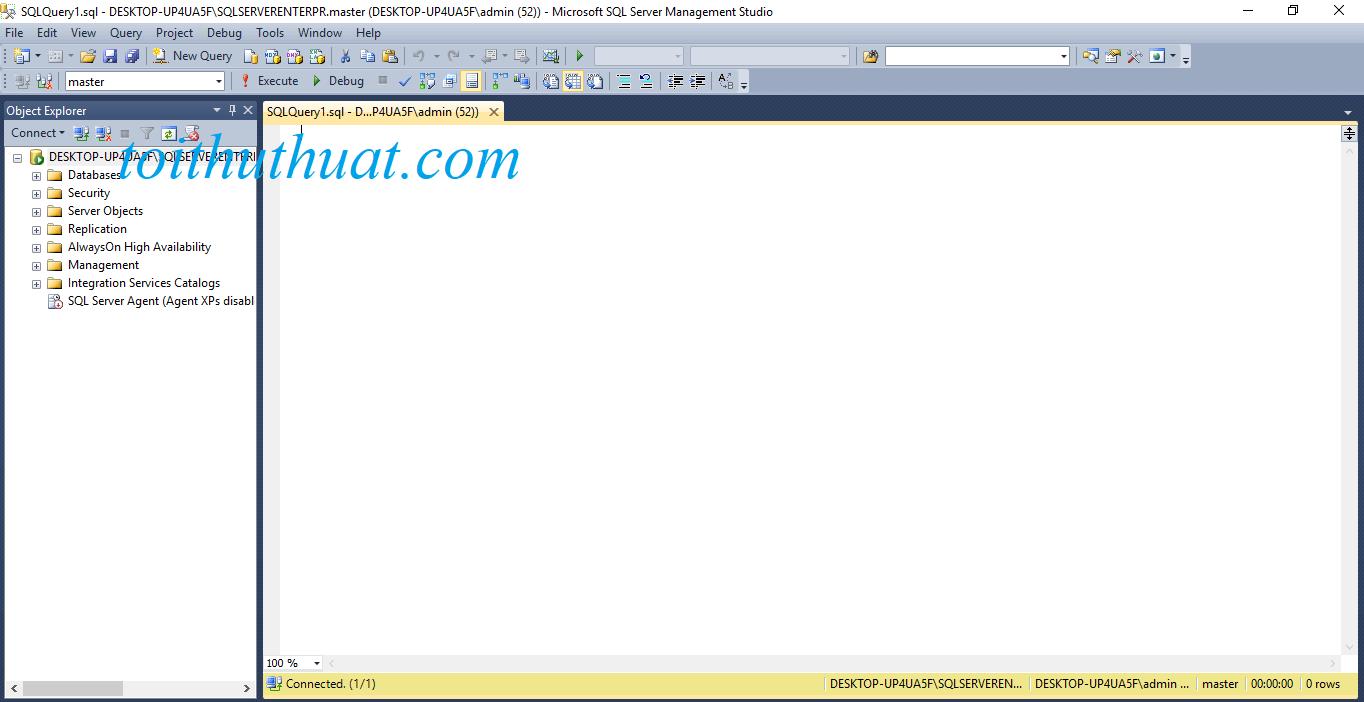 Giao diện bên trong SQL server 2012