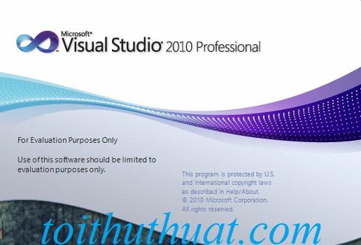 Giao diện màn hình chờ khi khởi động Microsoft Visual Studio 2010