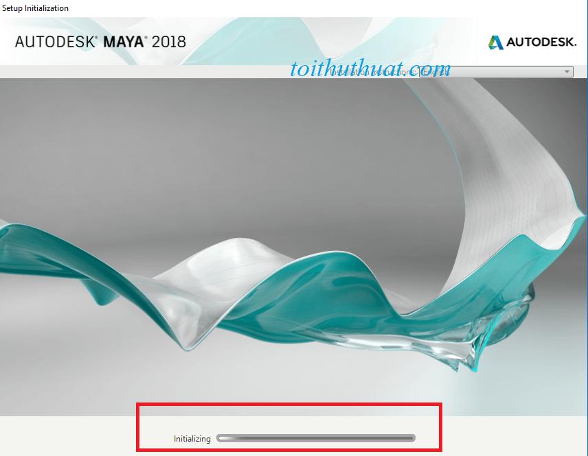 Hệ thống cài đặt phần mềm maya 2018 đang load :v