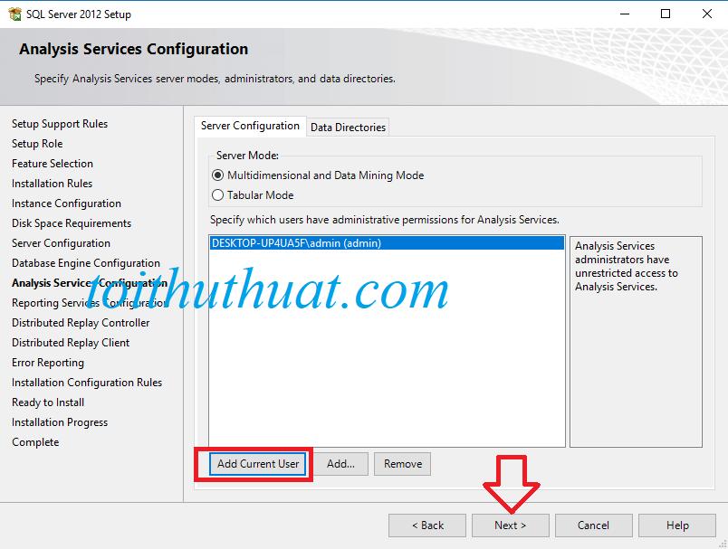 """Tiếp tục click vào """"add current user"""" rồi nhấn Next"""