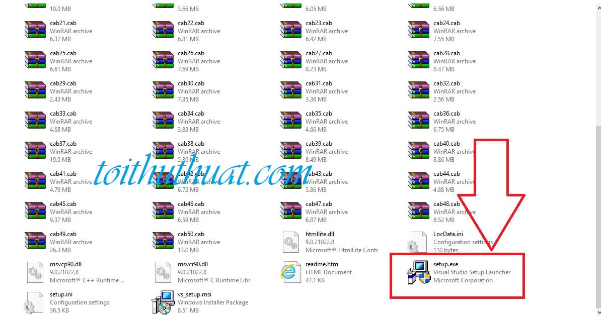 Tìm và chạy file setup.exe để cài đặt visual studio 2008