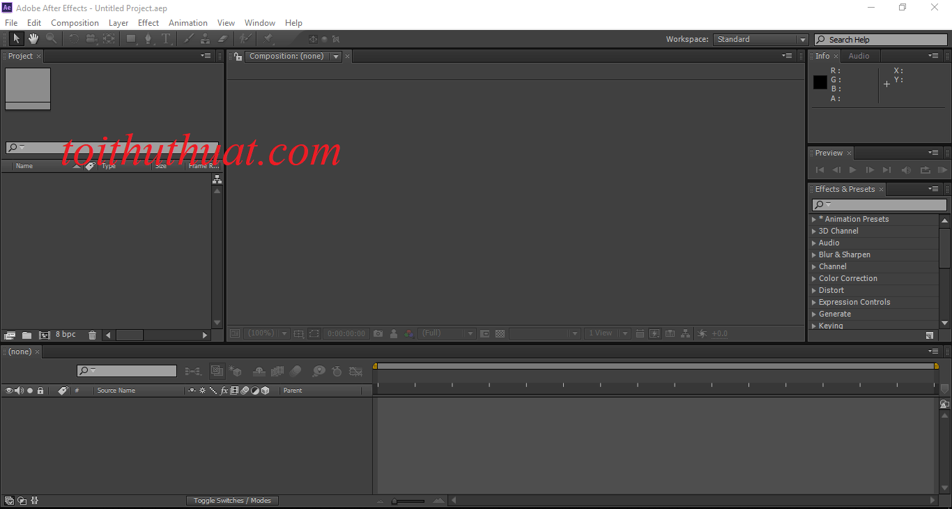 Giao diện Adobe After Effects CS6