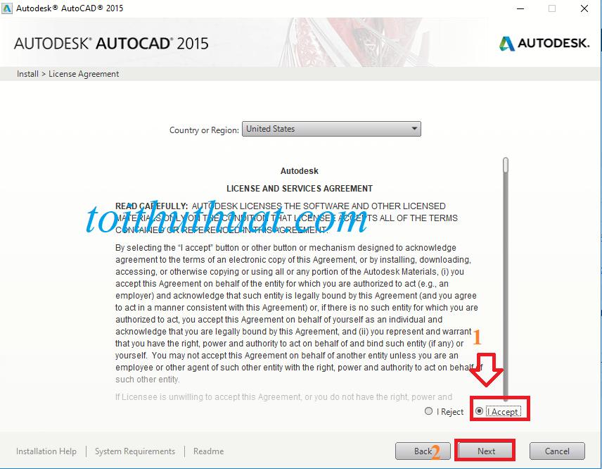 """Chọn vào dấu tích """"I Accept""""→ Sau đó chọnNext"""