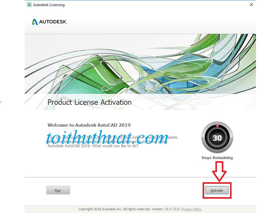 """Tiếp tục chọn vào """"Activate"""""""