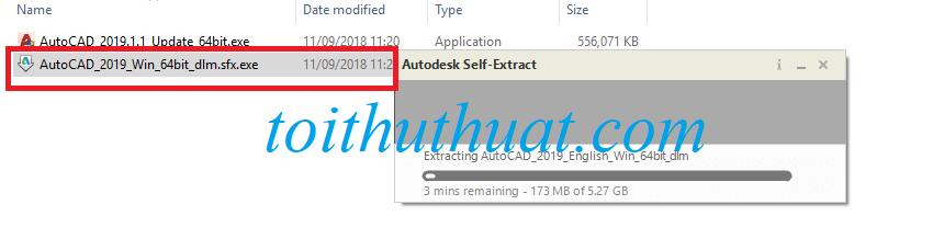 Tìm và kích hoạt file cài đặt autocad 2019