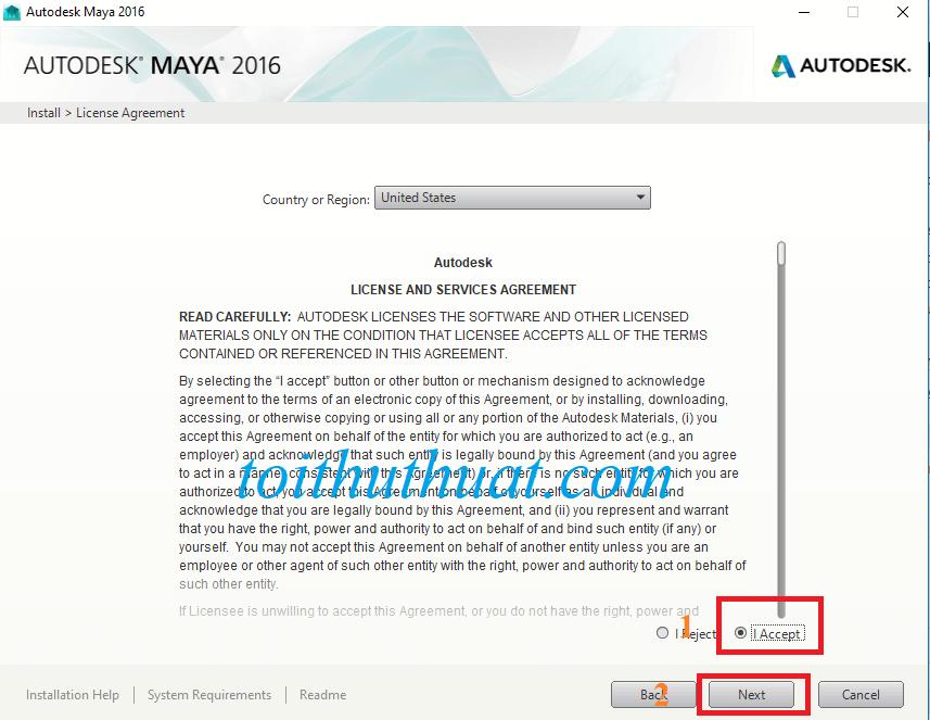"""Chọn vào dấu tích """"I Accept""""→ ChọnNext."""