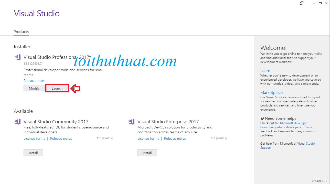 Chọn Launch để khởi động phần mềm