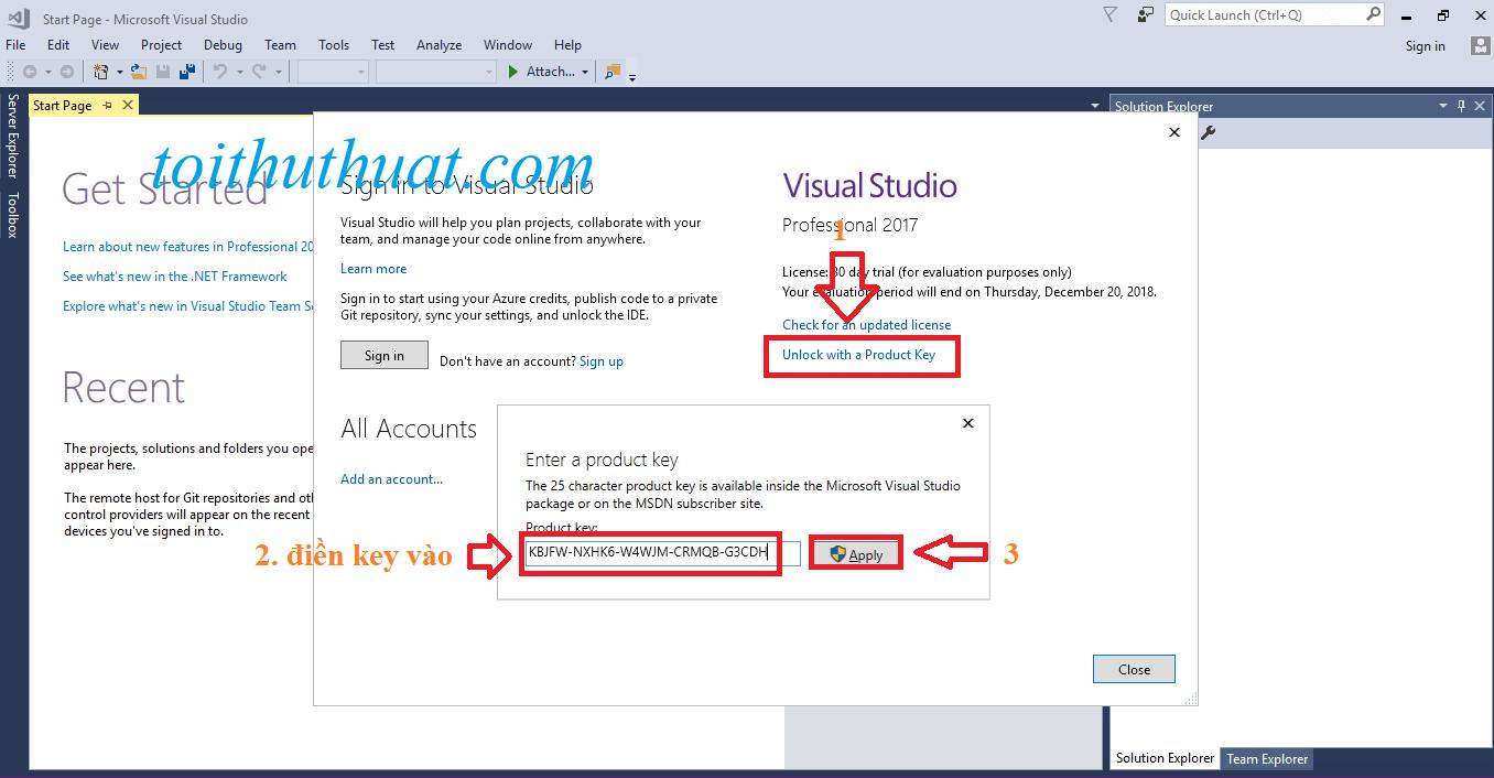 Unlock with a Product key→ Điền key vào → Apply
