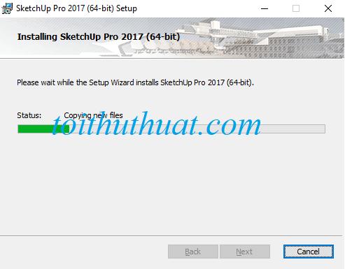 Chờ đợi hệ thống cài đặt SketchUp Pro 2017