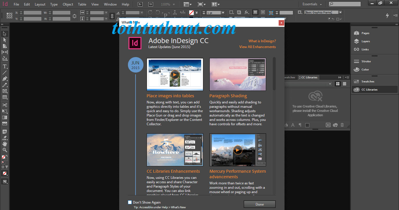 Giao diện trong phần mềm Indesign CC 2015