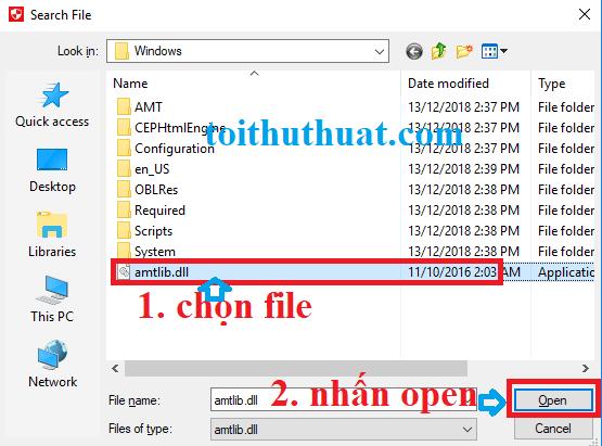 """Sẽ hiện ra 1 tab như hình, bạn cần chọn chọn file """"amtlib.dll""""→ Open."""