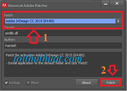 """Tìm và chọn """"Adobe Indesign cc 2015 (64bit)""""→ Patch."""