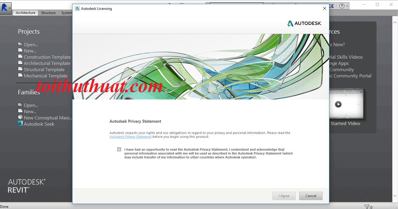 Giao diện khi khởi động phần mềm revit 2015 lên