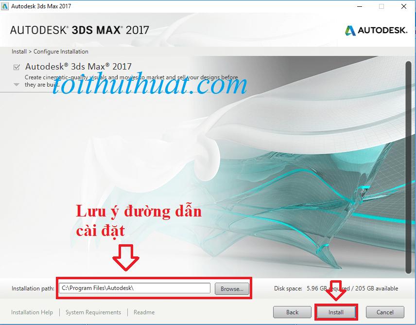 Chọn Install, sau đó ngồi đợi hệ thống cài đặt 3ds max