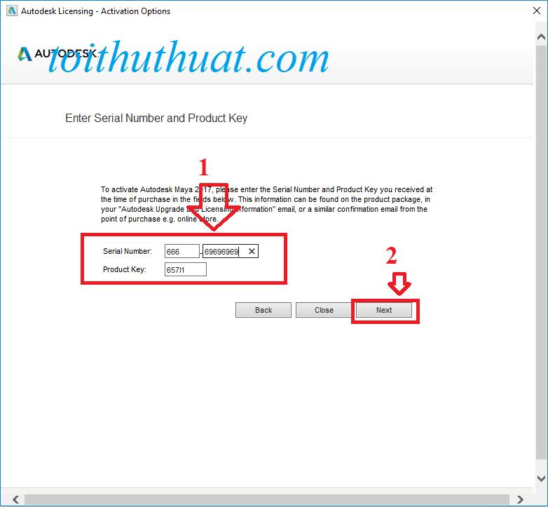 Điền Serial Number: 666-69696969→ Next