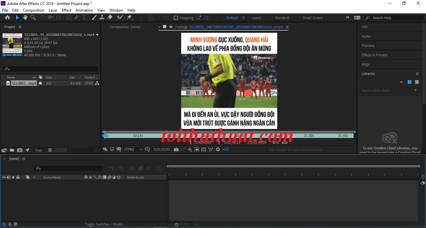Giao diện phần mềm After Effects cc 2019