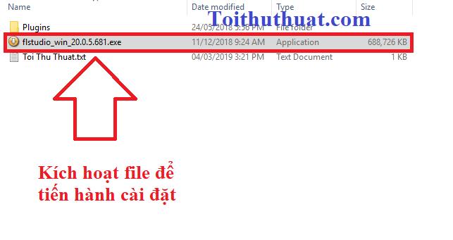 Kích hoạt file .exe để tiến hành cài đặt fl studio