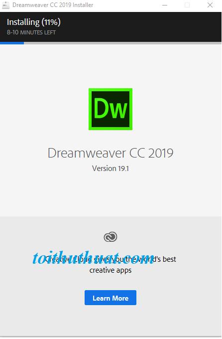 Ngồi đợi phần mềm cài đặt dreamwearver cc 2019 thôi hehe