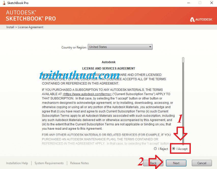 """Chọn vào ô tròn """"I Accept""""→Next → Install → Đợi cài đặt Autodesk Sketchbook Pro 2020."""