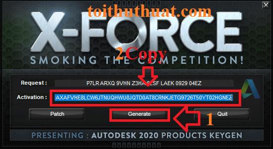 Bạn chọn vào Generate→Sau đóCOPYđoạn code trong dòngActivation