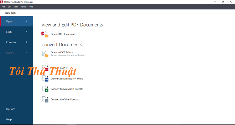 Giao diện của phần mềm Fine Reader 14