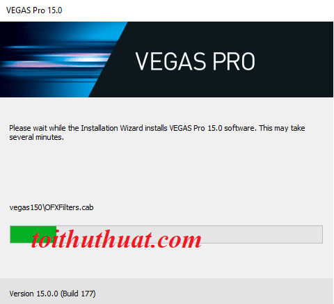 Đợi 3p để quá trình cài đặt Vegas Pro 15 được diễn ra