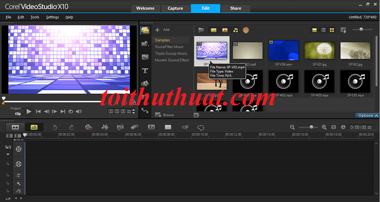 Giao diện edit video trong phần mềm corel videostudio x10
