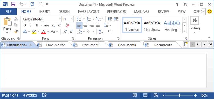 Giao diện của chương trình word 2013 đã được thay đổi