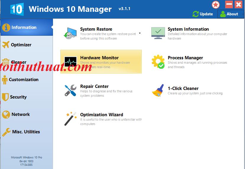 Giao diện phần mềm Windows 10 Manager v3
