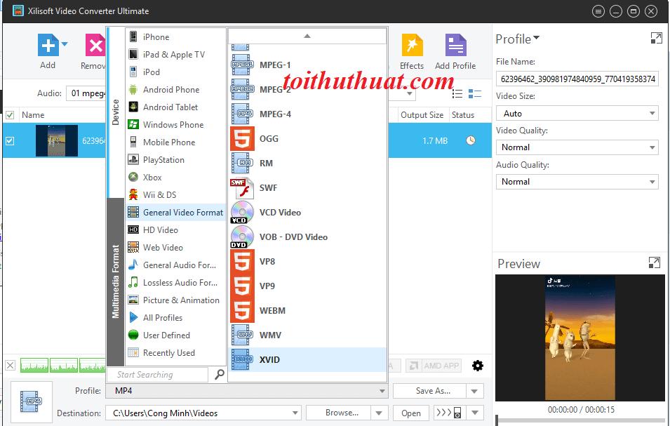 Các tính các hữu ích có trong phần mềm Xilisoft Video Converter