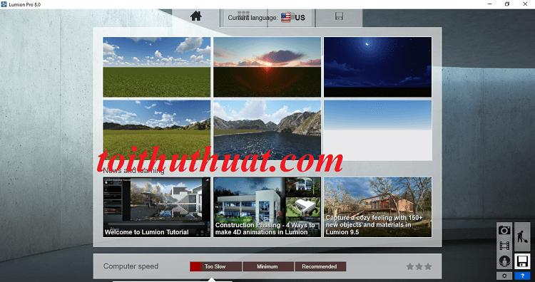 Giao diện Lumion 8.0 Full Key