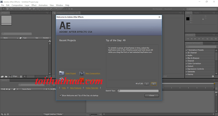 Giao diện của phần mềm adobe after effects cs4