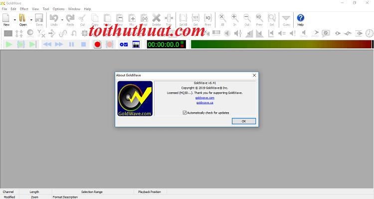Kích hoạt bản quyền phần mềm GoldWave 6.41 thành công