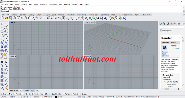 Giao diện thiết kế của phần mềm Rhinoceros 6.17