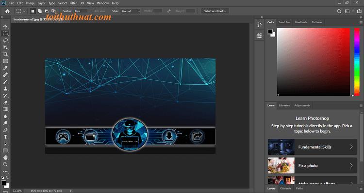 Giao diện phần mềm Photoshop CC 2020
