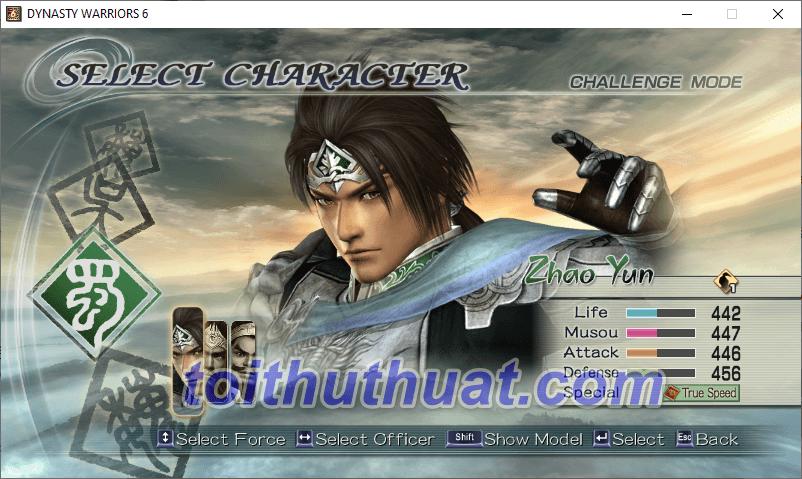 Giao diện chuẩn bị vào game Dynasty Warriors series 6