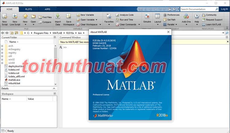 Toithuthuat.com đã kích hoạt thành công matlab để sử dụng lâu dài