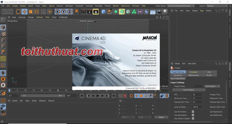 Như thế thì Tôi Thủ Thuật đã tải và cài đặt thành công Maxon Cinema 4D S22.118