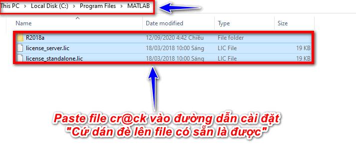 Paste file cr@ck vào đường dẫn cài đặt Matlab