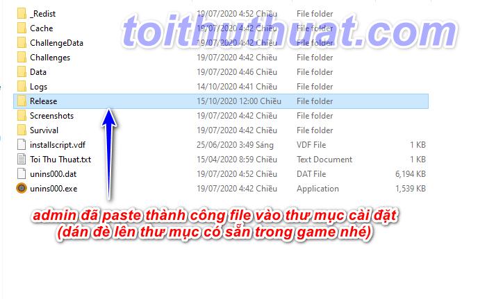Admin đã dán thành công file fix online vào file cài đặt game vừa giải nén ở bước 2