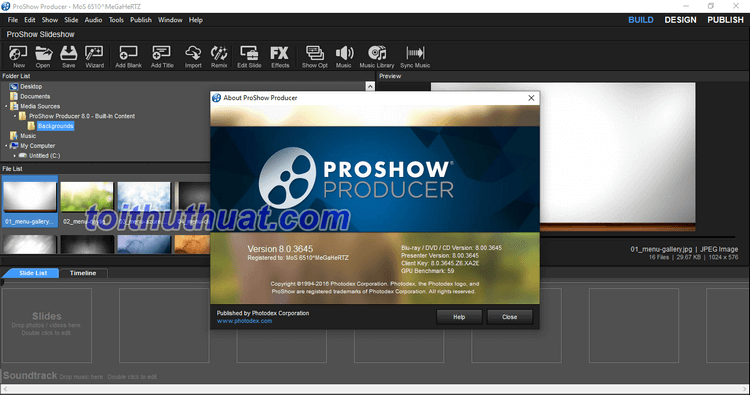 Download Proshow Producer 8.0 mới nhất tại toithuthuat