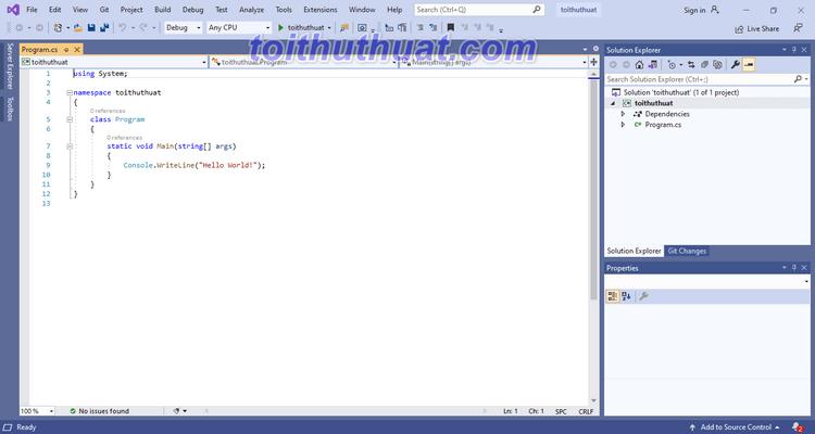 Giao diện phần mềm Visual Studio 2019 mới nhất
