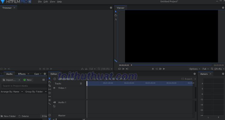Giao diện HitFilm 12 - Tạo, dựng phim chất lượng cao